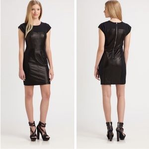Rebecca Taylor Black Leather Combo Bustier Dress|4